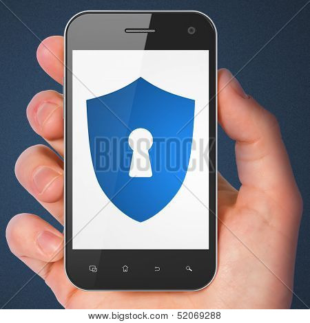 Safety concept: Shield With Keyhole on smartphone