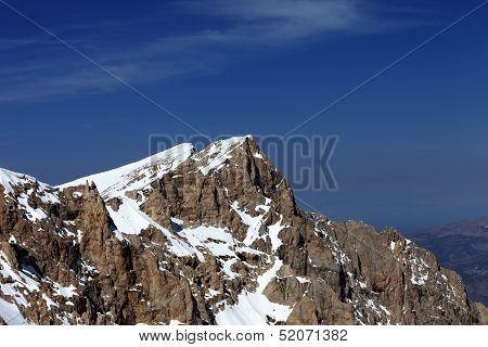 Top Of Snowy Mountain In Nice Day