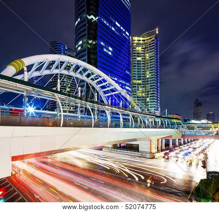 Bangkok cityscape and traffic congestion