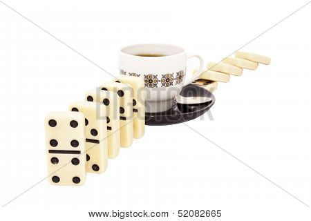 Spaced Dominoes With A Cup Of Tea