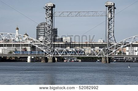 The Train Goes Through A Drawbridge