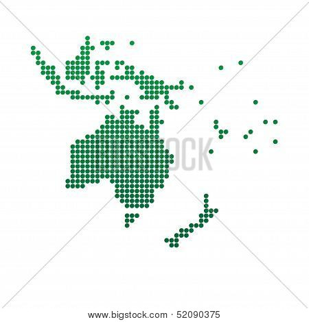Green Map Of Oceania.