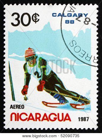 Postage Stamp Nicaragua 1987 Slalom Skiing, Olympic Games, Calga