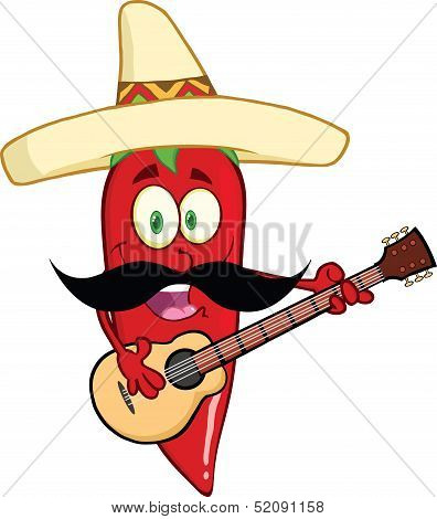Red Chili Pepper Character With Mexican Hat And Mustache Playing A Guitar