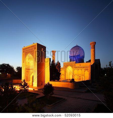 Gur e Amir - mausoleum of Tamerlane (Timur) and his family at night. Samarkand, Uzbekistan