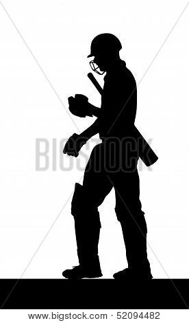 Sport Silhouette - Dismissed Cricket Batsman