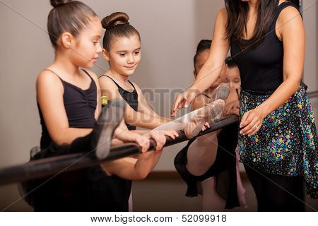Little girls enjoying dance class
