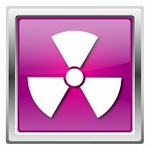 pic of radium  - Metallic icon with white design on fuchsia background - JPG