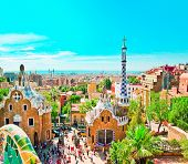 Ceramic mosaic Park Guell in Barcelona, Spain. Park Guell is the famous architectural town art desi