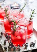 stock photo of trays  - Holiday cocktails for Christmas on tray - JPG