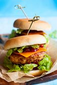 picture of christmas meal  - Christmas Turkey Burgers With Cranberry Sauce - JPG