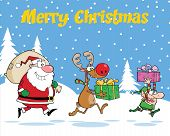 stock photo of elf  - Merry Christmas Greeting With Reindeer - JPG