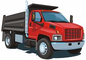 image of dumper  - Vector isolated red dump truck on white background without gradients and transparency EPS8 format - JPG
