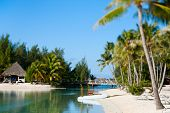 stock photo of french polynesia  - Beautiful beach on Bora Bora island in French Polynesia - JPG
