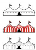pic of circus tent  - Illustration of a three ring circus in three versions - JPG