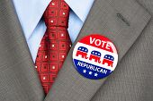 Close up of a republican voting badge on the suit jacket lapel of an American voter.