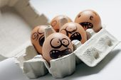 stock photo of screaming  - funny eggs with facial expression - JPG