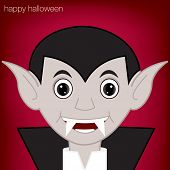picture of freaky  - Cartoon vampire Halloween card in vector format - JPG