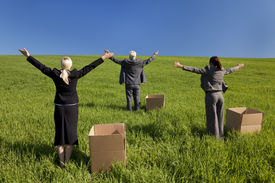 stock photo of thinking outside box  - Concept shot showing three business executives one male and two female standing outside boxes in a green field and raising their arms towards the horizon - JPG