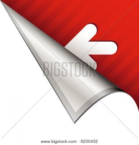 Left arrow on peeling corner tab