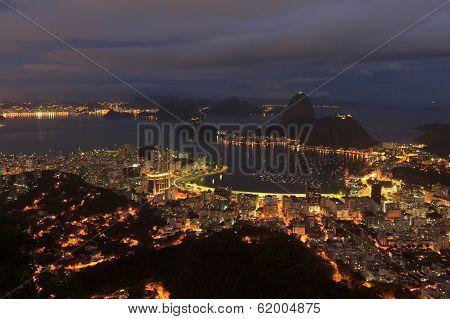 Rio De Janeiro Night View Of Sugarloaf, Brazil
