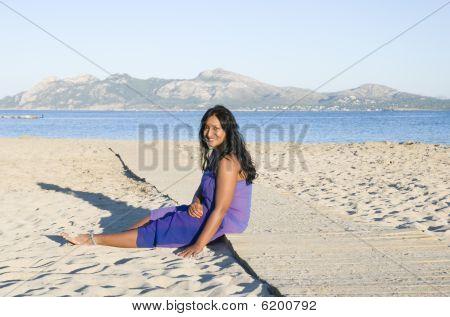 happy asian woman on beach.
