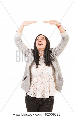 Happy Woman Holding Something Imaginary