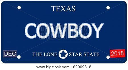 Cowboy Texas Imitation License Plate