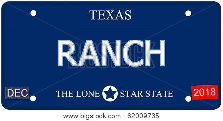 Ranch Texas Imitation License Plate