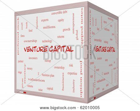 Venture Capital Word Cloud Concept On A 3D Cube Whiteboard