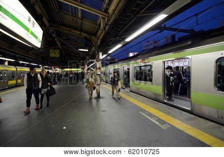 Tokyo -nov 23 : Rush Hour At The Shinjuku Train Station On 23 November 2013.