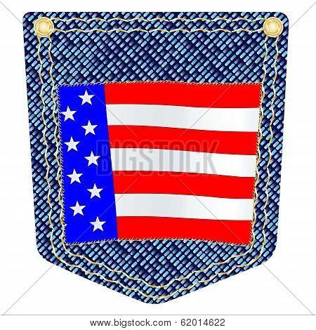 Stars And Stripes Denim Pocket