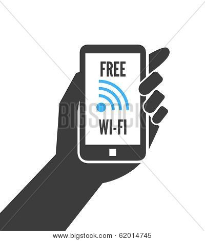 Hand holding smartphone with free wifi