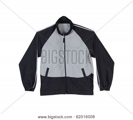 Gray and black sport jacket
