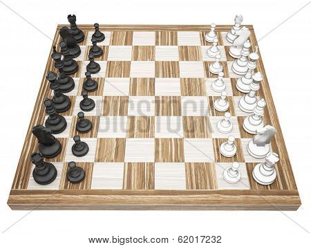 Chess Pieces On A Chess Board Isolated