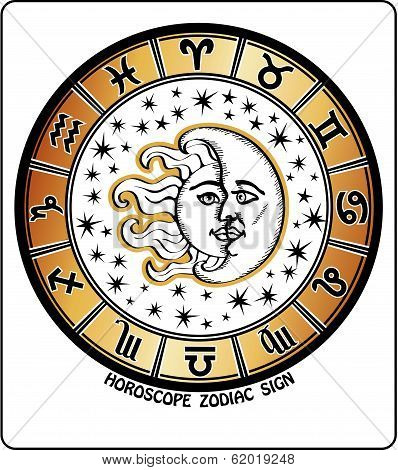 All Zodiac Sign In Horoscope Circle.retro Illustration