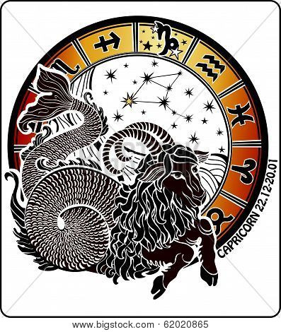 Vector Capricorn and the zodiac sign on a white background.Horoscope circle.