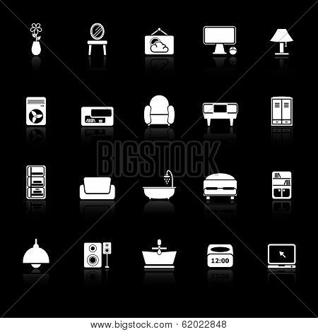 Home Furniture Icons With Reflect On Black Background