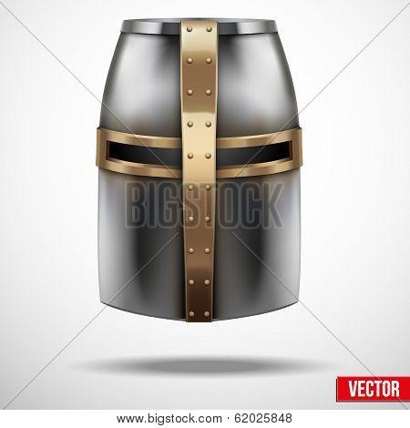 Crusader Knight's Helmet Vector Background