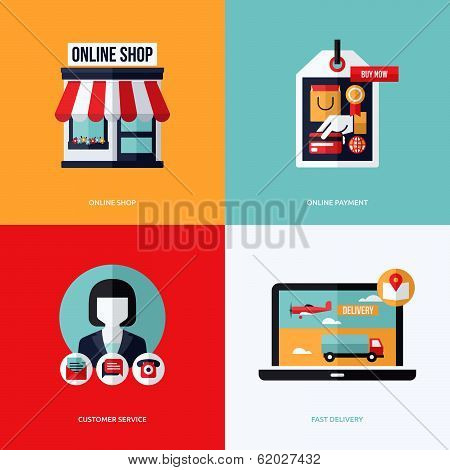 Flat Vector Design With E-commerce And Online Shopping Icons And Elements