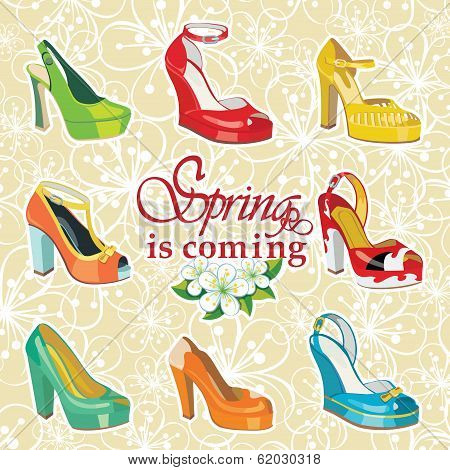 Colorful Fashion Women's High Heel Shoes On Spring Flowers Background