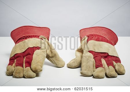 Builders Protective Gloves Isolated On White Background
