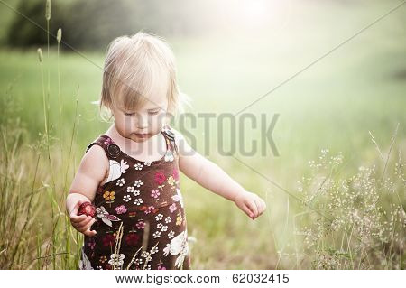 Backlit Child In Meadow
