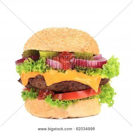 Tasty hamburger close up.