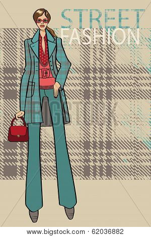 Fashionable Girl In Coat.fashion Illustration