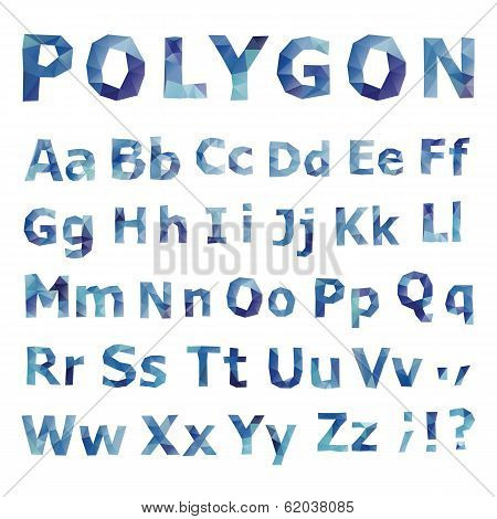 Alphabet. Polygonal font set.