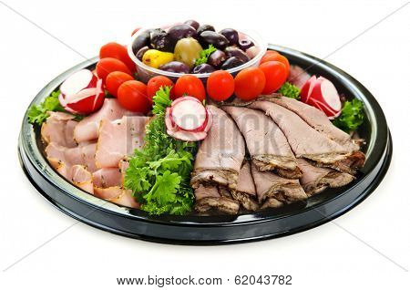 Isolated platter of assorted cold cut meat slices