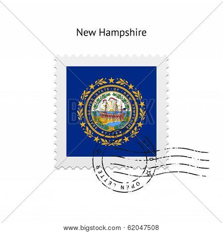State of New Hampshire flag postage stamp.
