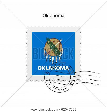 State of Oklahoma flag postage stamp.