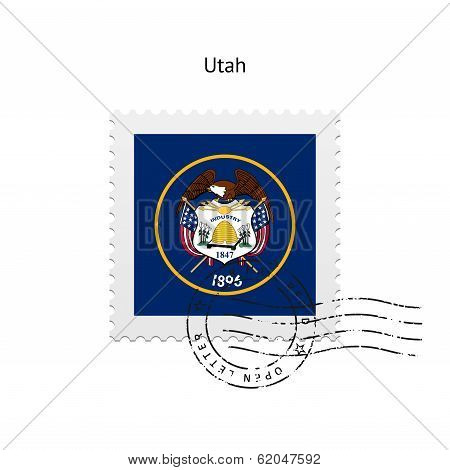 State of Utah flag postage stamp.